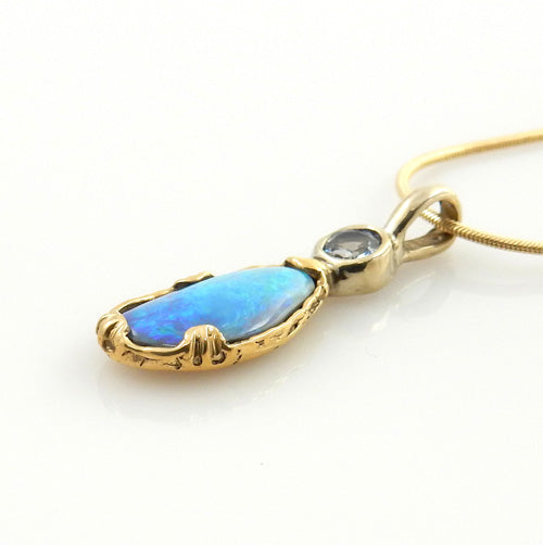 Beautiful Opal Tanzanite 14kt Gold Pendant