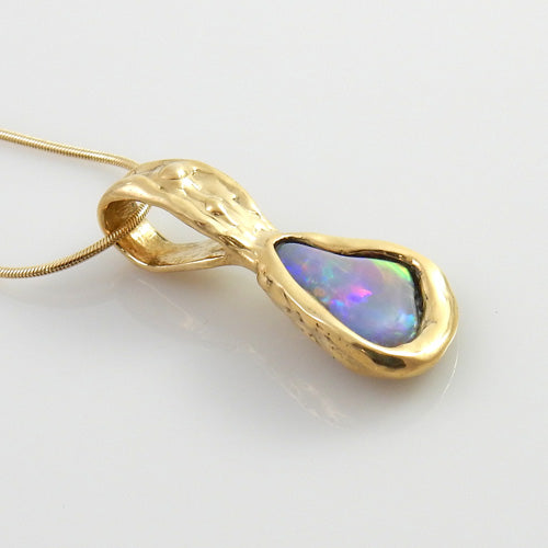 Unique 14kt Gold Rare Natural Opal Pendant