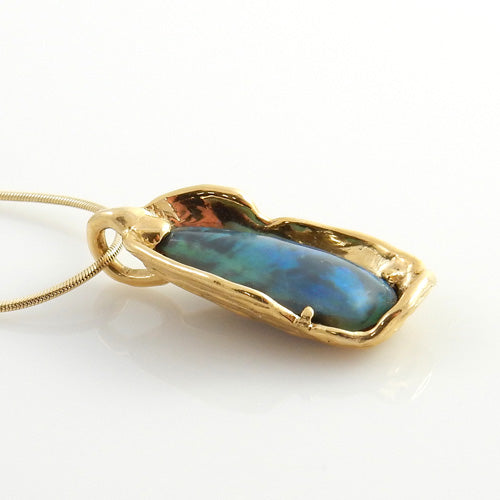 Yellow 14kt Gold Natural Opal Drop Pendant