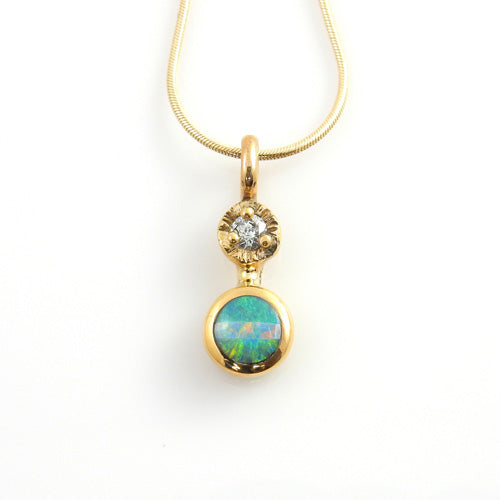 Natural Australian Opal Diamond 14kt Gold Inlay Pendant