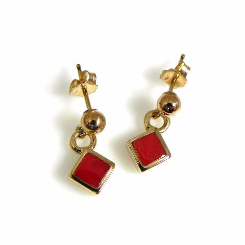14kt Yellow Gold Red Italian Coral Earrings