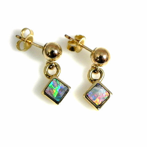 14kt gold opal inlay earrings