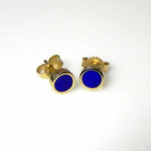 14kt gold lapis inlay stud earrings