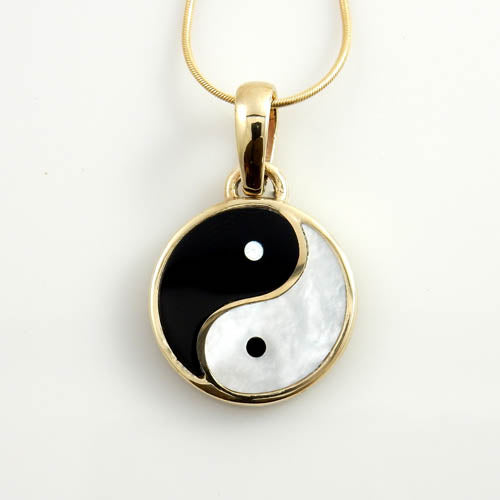 14kt Gold Black Onyx Mother of Pearl Yin-Yang Pendant