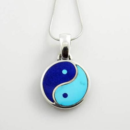 Sterling Silver Turquoise Lapis Inlay Yin-Yang Pendant