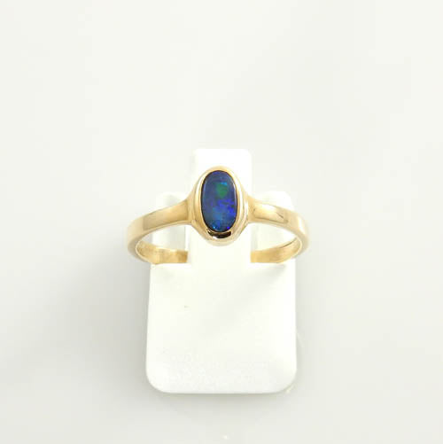14kt Gold Australian Black Opal Inlay Ring Size 6