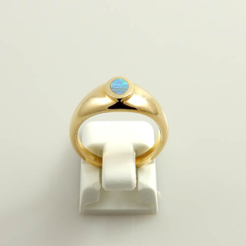 14kt Gold Australian Opal Inlay Ring Size 5.75