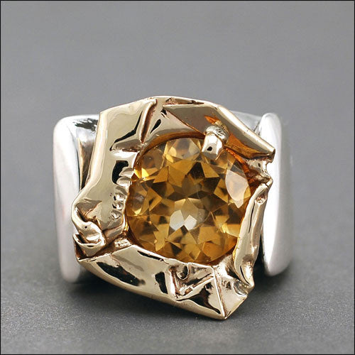 Unique two toned silver and gold citrine ring