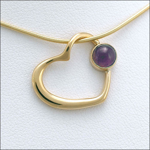 14kt gold amethyst floating heart pendant