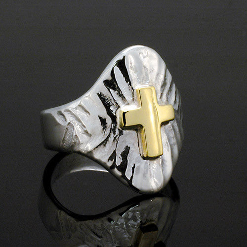 Silver and gold two toned texture cross ring