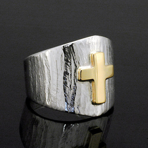 Silver and gold texture cross ring