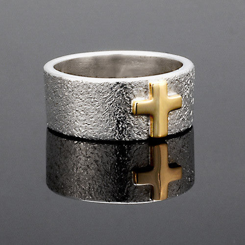 Two toned silver and gold texture sterling silver cross ring