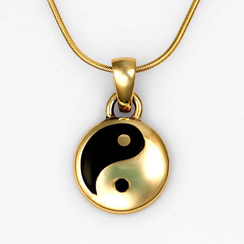 Black Onyx Mother of Pearl Gold Yin-Yang Pendant