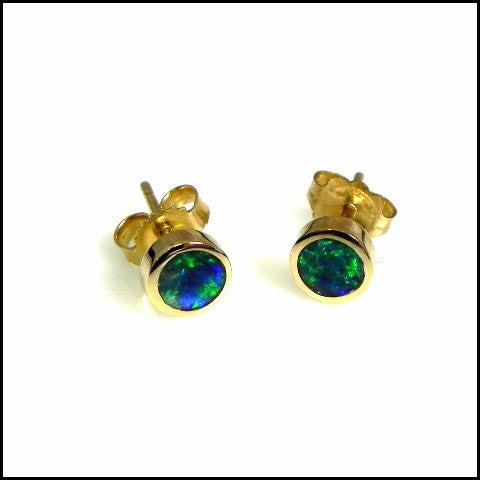 14kt Gold Natural Opal Stud Earrings