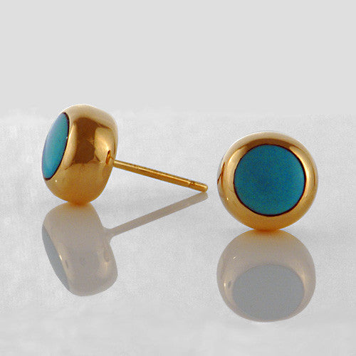 14kt gold turquoise inlay stud earrings
