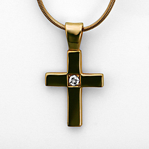 14kt gold diamond cross pendant