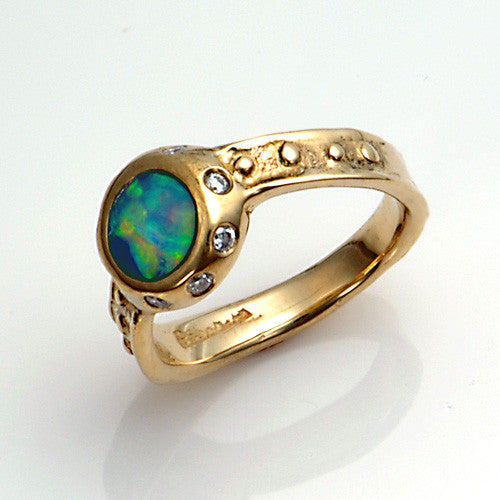 14kt gold diamond opal ring