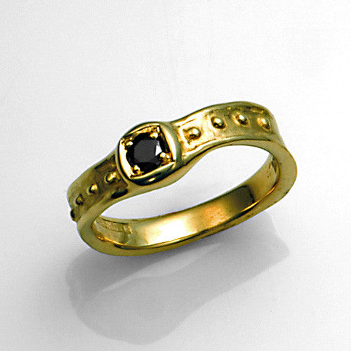 14kt gold black diamond ring
