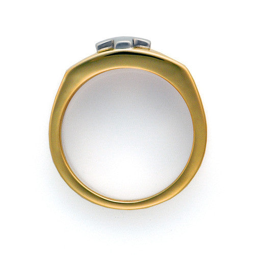 Two toned white and yellow 14kt gold cross ring