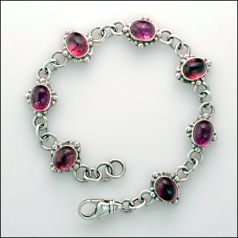 Sterling silver tourmaline adjustable link bracelet