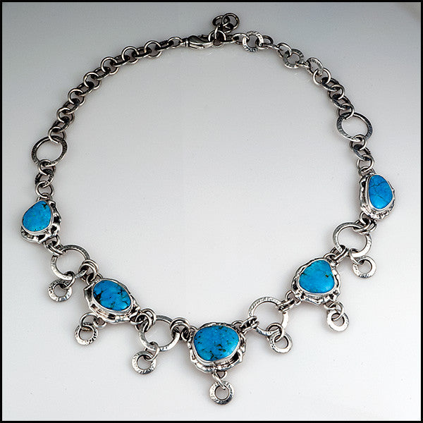 Handmade turquoise sterling silver adjustable necklace