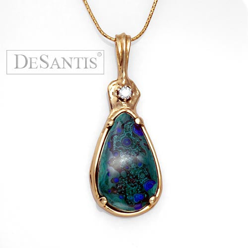 14kt gold azurite diamond pendant
