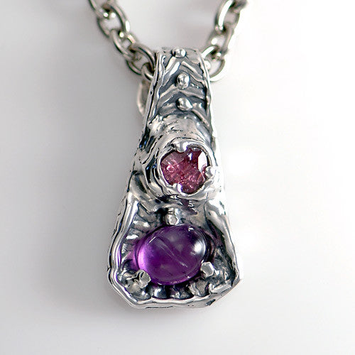 Unique sterling silver tourmaline amethyst pendant