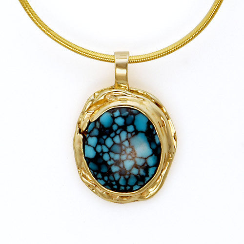 14kt gold turquoise pendant
