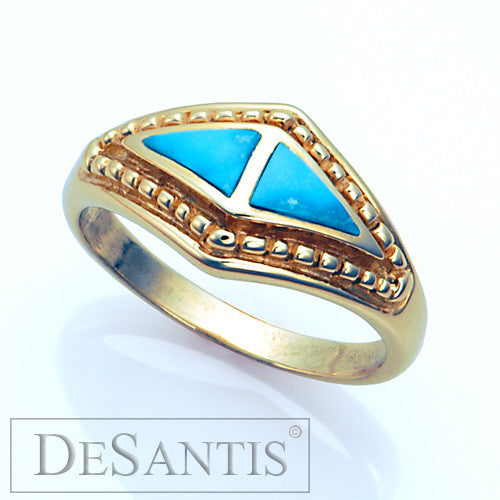 14kt gold turquoise inlay ring