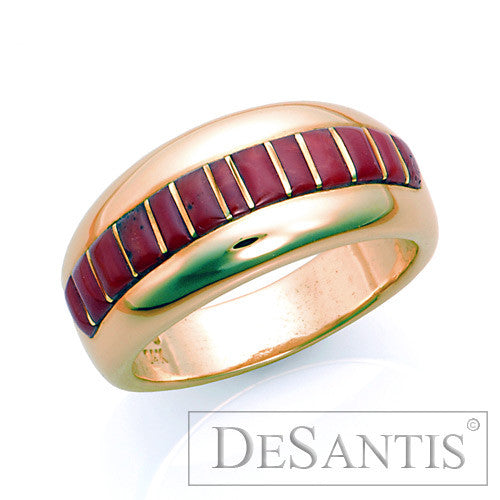 14kt gold coral inlay ring