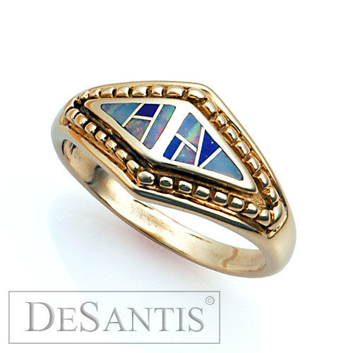 14kt gold opal lapis inlay ring
