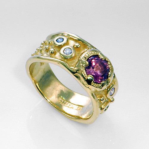 14kt gold tourmaline diamond ring
