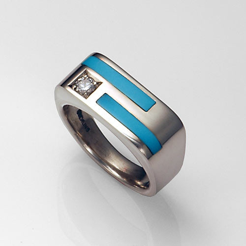 Sleeping beauty turquoise inlay cz silver men's ring
