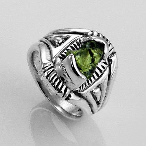 Handcrafted sterling silver raw peridot ring
