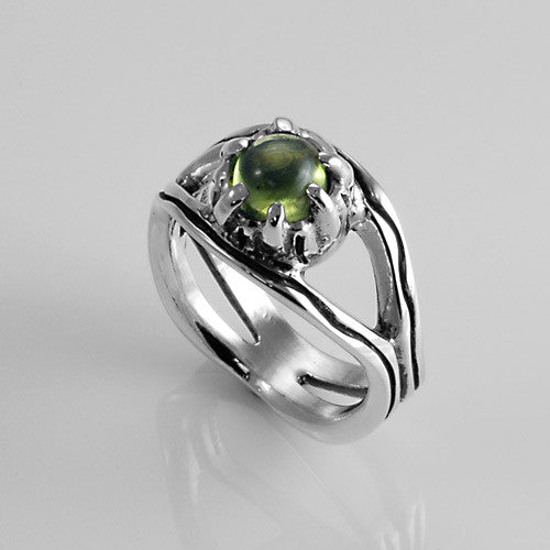 Sterling silver handcrafted natural peridot ring