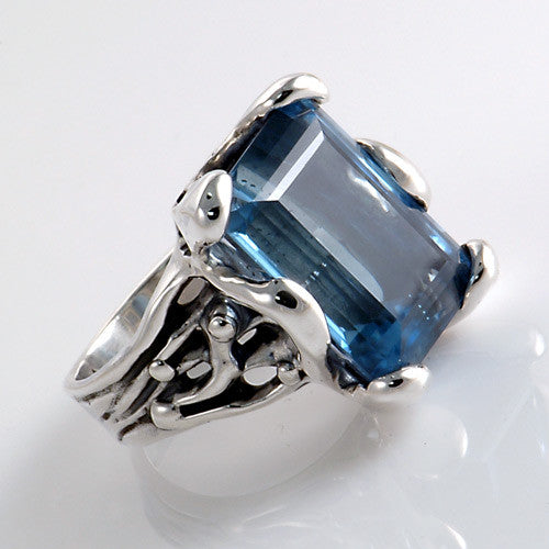 Blue topaz sterling silver handcrafted ring