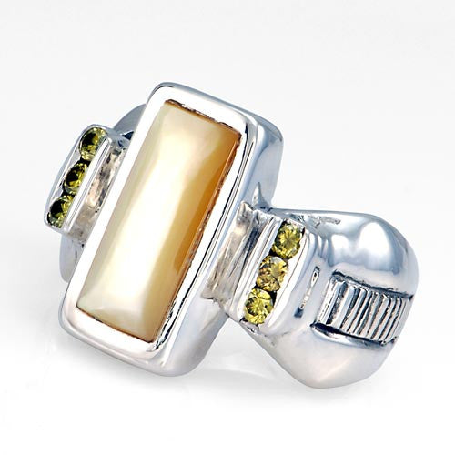 Mother of pearl inlay diamond sterling silver ring