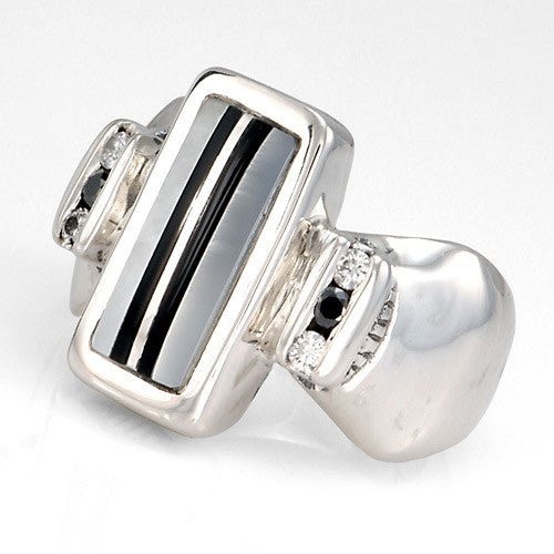 Mother of pearl onyx diamond inlay sterling silver ring