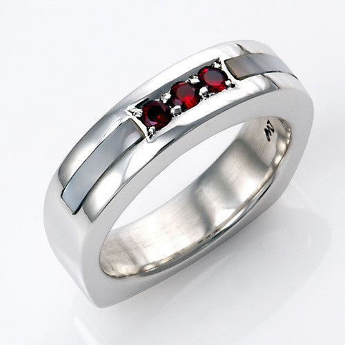 sterling silver mother of pearl inlay garnet ring