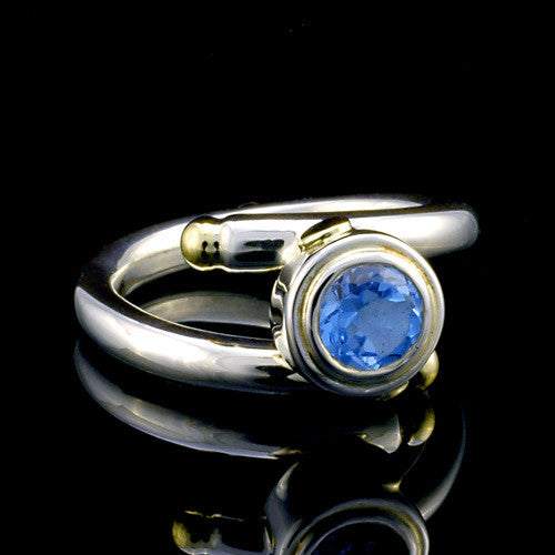 Two toned silver and gold topaz adjustable ring