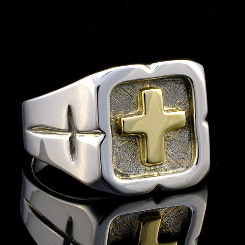 sterling silver gold cross ring