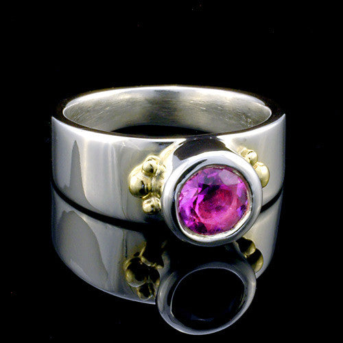 Two toned silver and gold amethyst ring