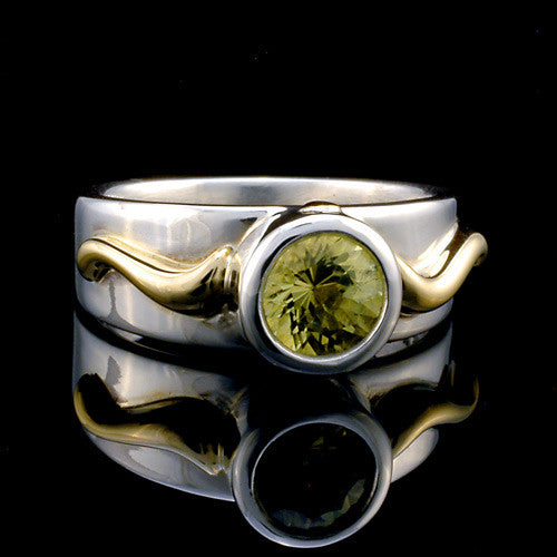 Two toned silver gold citrine ring