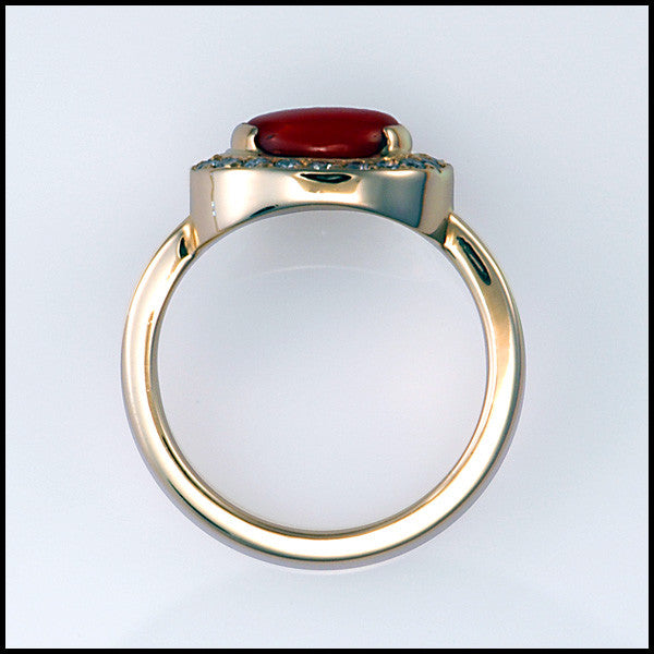 14kt yellow gold coral diamond ring
