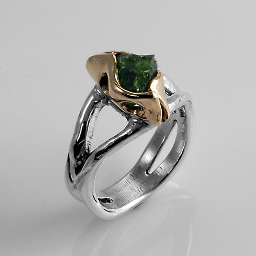 Two toned silver and gold raw peridot ring