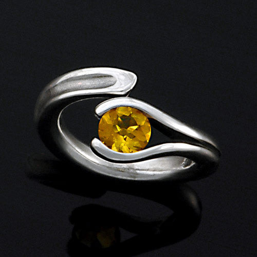 Designer tension set citrine sterling silver ring