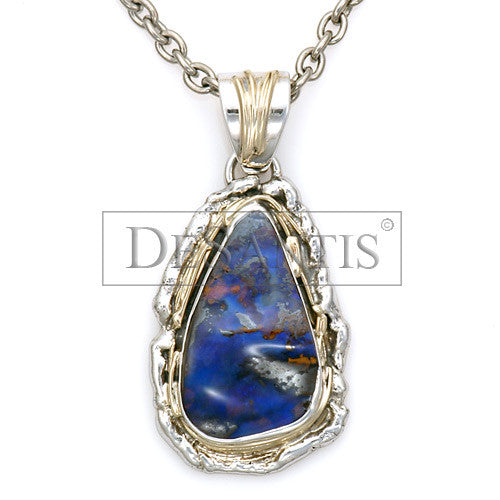 Two toned sterling silver and 14kt gold opal pendant desantis jewelry silver and gold two toned natural opal pendant aloadofball Images