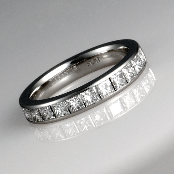 Handmade Platinum Diamond half Eternity Band