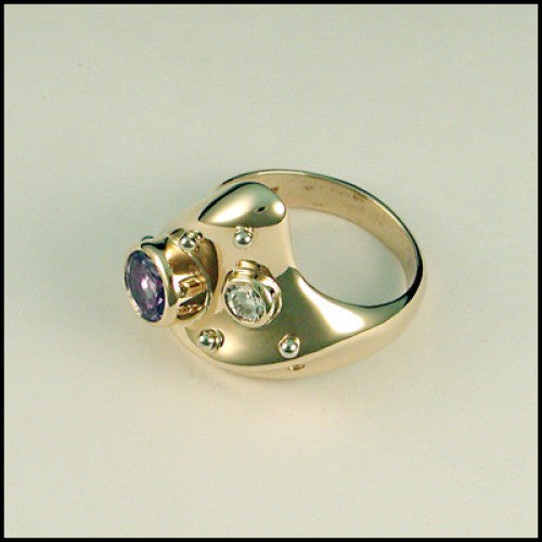 14kt gold tanzanite diamond ring