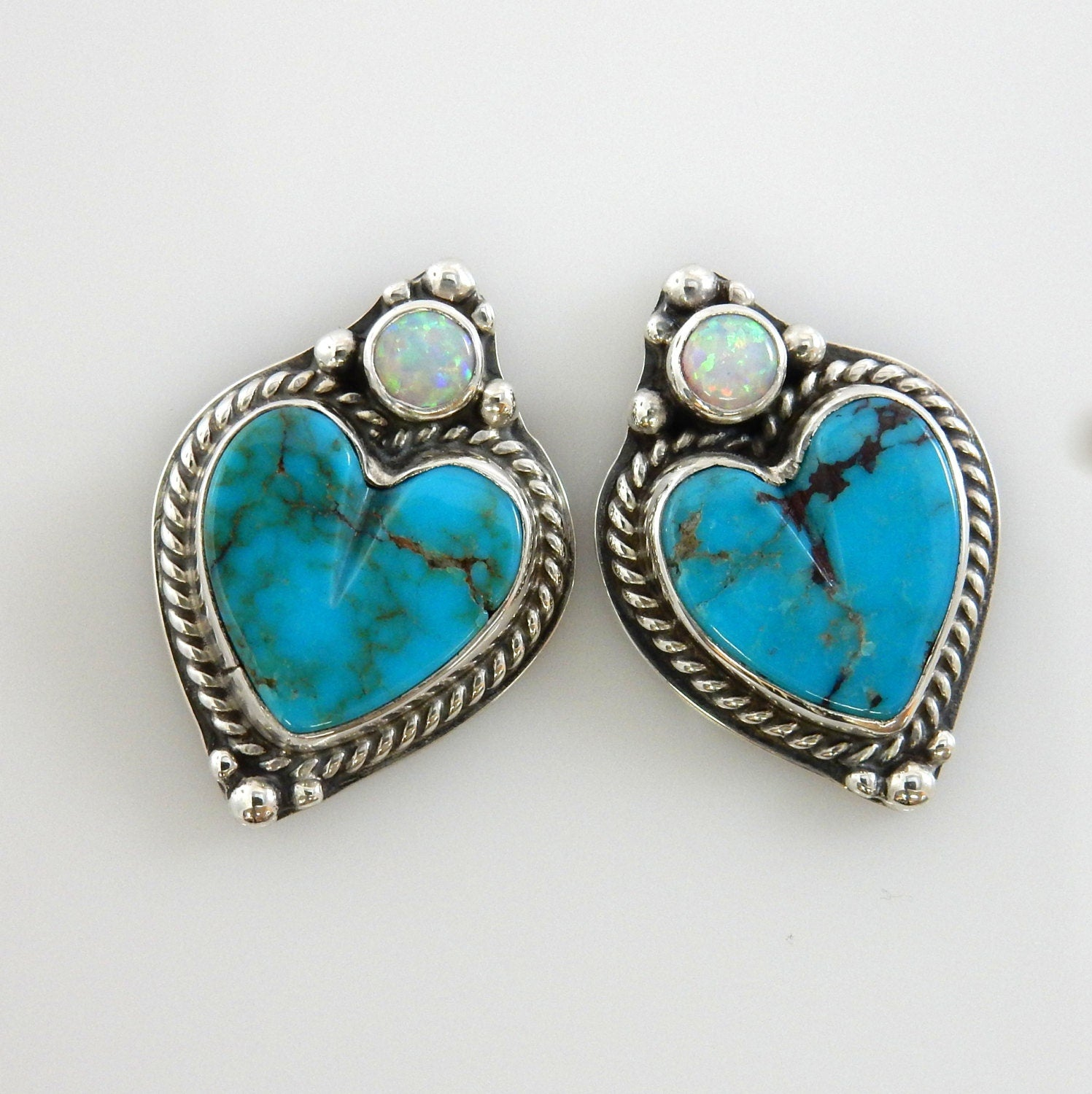 Silver Turquoise Heart Earrings